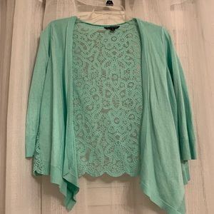 Mint green cardigan with lace back
